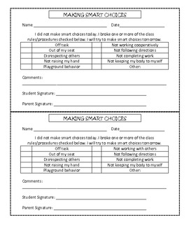 Making Choices Parent Communication Sheet