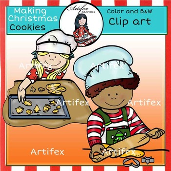 Making Christmas Cookies clip art -Color and B&W-
