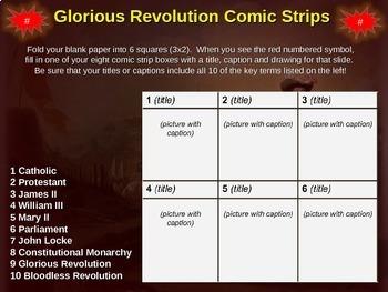 Making Comic Strips for England's Glorious Revolution: 20-slide follow-along PPT