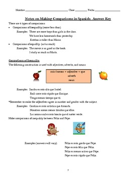 Making Comparisons:  Notes and Practice Activities