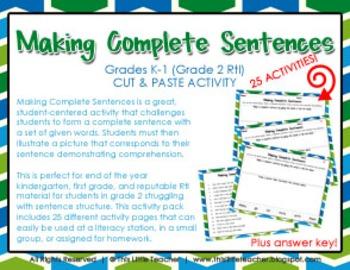 Making Complete Sentences for Grades K,1,2