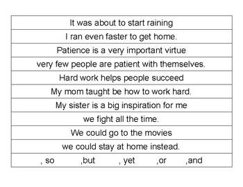 Making Compound Sentences- Sentence Strips