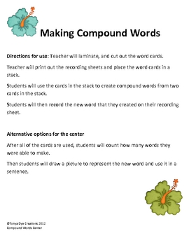 Making Compound Words Center