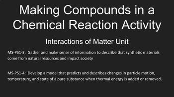 Making Compounds in a Chemical Reaction Activity, Interactions of Matter Unit