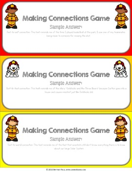 Making Connections Activity {Text to Self, Text to Text, Text to World}