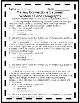 Making Connections Between Sentences and Paragraphs RI3.8