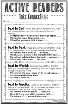 Making Connections / Guided Reading / What Good Readers Do / Any Text / Editable