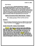 Making Connections Letter Home, Rubric and Strong Work Sample