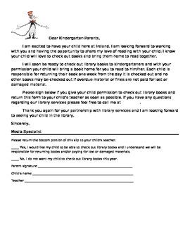Library Letter for Kindergarten