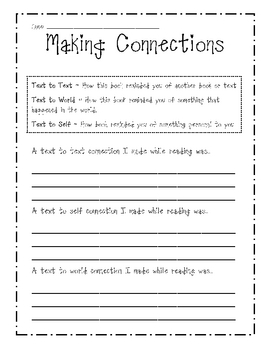 making connections sheet printable worksheet by beth van der ploeg teachers pay teachers. Black Bedroom Furniture Sets. Home Design Ideas