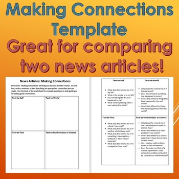 Making Connections Template: Text-to-Text Connections for Reading Articles