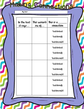 Making Connections: Text-to-Self Organizer