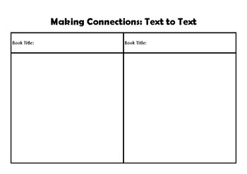Making Connections Text to Self, Text to Text and Text to World