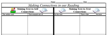Making Connections in Reading - Text-to-Text and Text-to-Self