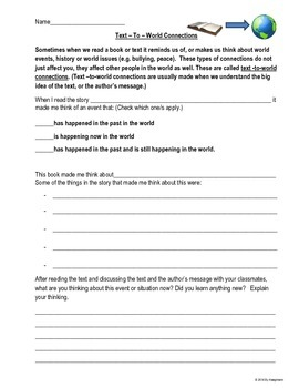 Making Connections Worksheets To Use With Different Books