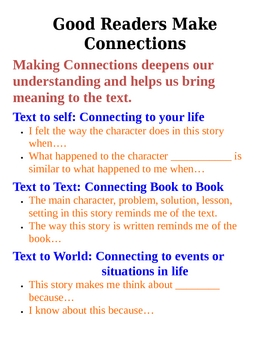 Making Connections (text, self, world)