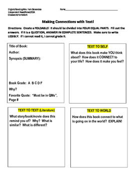 Making Connections with Text (Mini Novel Assignment)