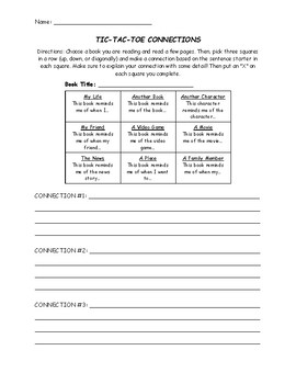 Making Connections with Tic-Tac-Toe Reading Comprehension Worksheet