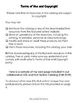 Making ELA Matter - - ESL and ELA Sellers Catalog (Fall 2018)