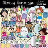 Making Easter Eggs- Color/ black&white.