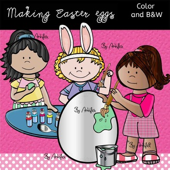 Making Easter Eggs- Color/ black&white.
