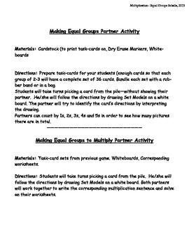 Making Equal Groups: Multiplication Worksheets, Homework and Partner Activities