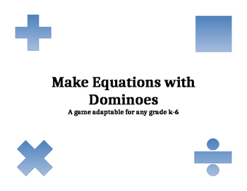 Making Equations with Dominoes