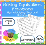 Making Equivalent Fractions by Multiplying Worksheet or Activity  (4.N.F.1)