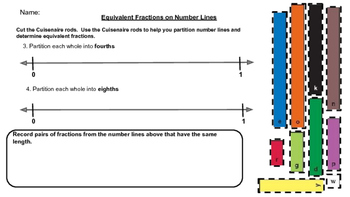 Making Equivalent Fractions on a Number Line Using Cuisenaire Rods