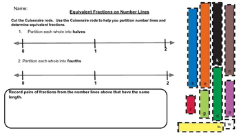Making Equivalent Fractions on a Number Line Using Cuisena
