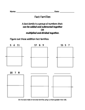 making fact families worksheet addition  subtraction  tpt