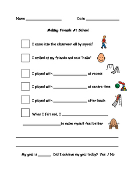 Making Friends At School Behaviour Checklist