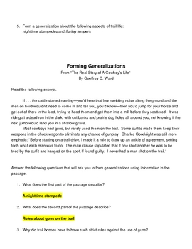 Making Generalizations: Practice with Forming Generalizations Basic