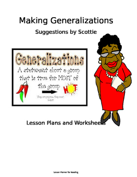 making generalizations sample lesson plan and worksheets tpt