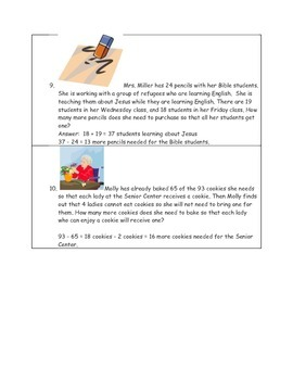 Math-3rd, Word Problems, Making Godly Choices  (Christian & Home School)