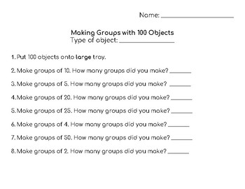 Making Groups with 100 Objects Activity