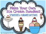 Making Ice Cream Sundaes Sequencing and Following Directions Activity