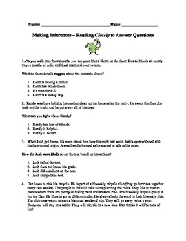 Making Inferences - Clues to Close Reading