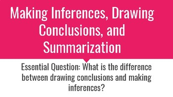 Making Inferences, Drawing Conclusions, and Summarizing