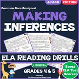 Making Inferences: ELA Reading Comprehension Worksheets | GRADE 4 & 5 ♥ FICTION