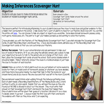 Making Inferences Editable Scavenger Hunt Mystery