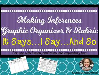 Making Inferences Graphic Organizer & Rubric: It Says, I Say, And So