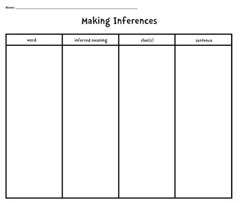 Making Inferences [Graphic Organizer Worksheet] by Kids and Coffee