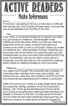 Making Inferences / Guided Reading / Active Readers / Any Text / Editable
