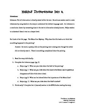 Making Inferences Imagine It Unit 1 Lesson 5