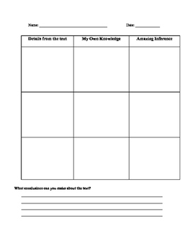 Making Inferences Lesson(Graphic Organizer Included)
