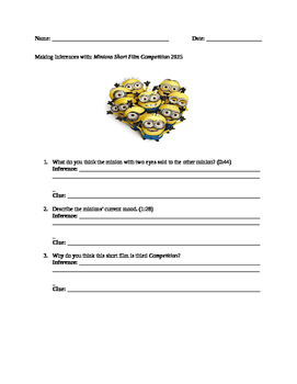 Making Inferences: Minions Short Film Competition 2015