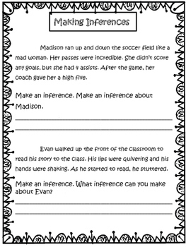 Inferences: Make inferences and explain your thinking with practice printables