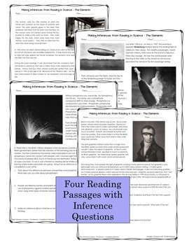 Nonfiction Reading Passages and Inference Questions About The Elements