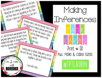 Making Inferences / Skill Task Cards